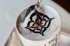 Coffee with milk pattern Arkivfoto