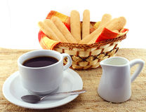 Coffee with milk and  savoiardi biscuits Royalty Free Stock Photography