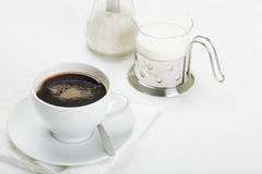 Coffee with milk and sugar Stock Photography