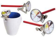 Coffee and milk thermometer in different positions isolated stock photo