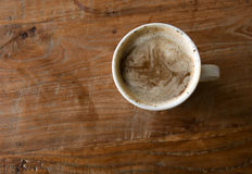 Coffee with milk. Top view: cup of coffee with milk Stock Images