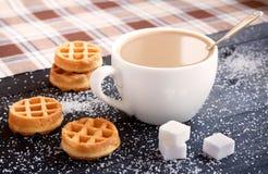 Coffee with milk, waffles, sugar Stock Photos
