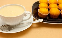 Coffee with milk in white cup Stock Photos