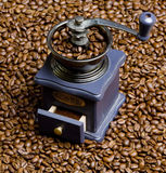 Coffee mill. With coffee beans Royalty Free Stock Image