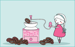 Coffee mill. Vector illustration of girl with vintage coffee mill and coffee beans Stock Photos