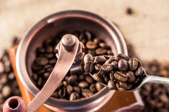 Coffee mill with aromatic coffee beans in spoon Royalty Free Stock Images