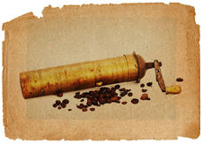 Coffee mill and beans in grunge style Royalty Free Stock Photography