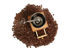 Coffee Mill with beans Stock Photo
