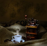 Coffee mill and cup Royalty Free Stock Photo