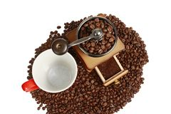 Coffee Mill with cup and coffee beans Royalty Free Stock Image