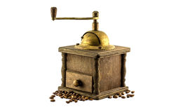 Coffee mill & grain Royalty Free Stock Photo