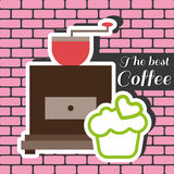 A coffee mill with a green cake with heart on top Royalty Free Stock Image