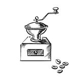 Coffee mill grinder with coffee beans Stock Image