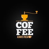 Coffee mill grinder cup menu design background Stock Photography