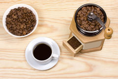 Coffee mill,ground coffee Stock Image