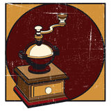 Coffee mill grunge. Grunge background with manual coffee mill Royalty Free Stock Photos