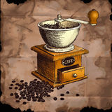 Coffee mill. Hand drawn illustration. Stock Image