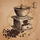 Coffee mill. Hand drawn illustration. Stock Photos