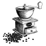 Coffee mill. Hand drawn illustration. Stock Photo