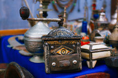 Coffee mill moroccan souk crafts souvenirs in medina, Essaouira, Morocco Royalty Free Stock Photos