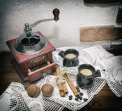 Coffee mill, photo in old image style. Stock Photo