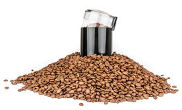 Coffee mill and pile of coffee beans - Isolated Stock Images