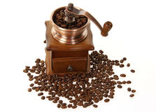 Coffee mill with roasted beans Royalty Free Stock Image