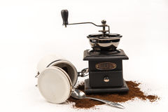 Coffee mill. Vintage coffee grinder isolated on white background Royalty Free Stock Photo