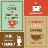 Coffee mini poster set Royalty Free Stock Images