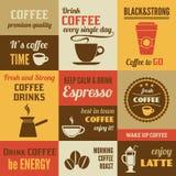 Coffee mini poster set Royalty Free Stock Photos