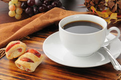 Coffee with mini strudels Stock Images