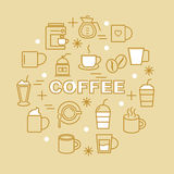 Coffee minimal outline icons Royalty Free Stock Photo