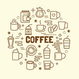 Coffee minimal thin line icons set Stock Photography