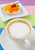 Coffee and mixed fruit pie. Coffee and colorful mixed fruit pie royalty free stock photos