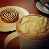 Coffee mocha with cream and donut - vintage effect. Royalty Free Stock Photography