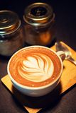 Coffee mocha hot on wooden table Royalty Free Stock Photos