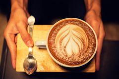 Coffee mocha hot on wooden table Stock Images