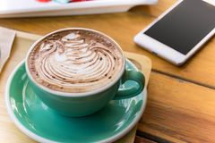 coffee mocha lattee cup on wood table and cake relax time on cafe shop royalty free stock photos