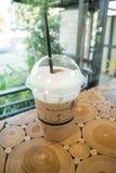 Coffee mocha into a plastic glass Royalty Free Stock Image