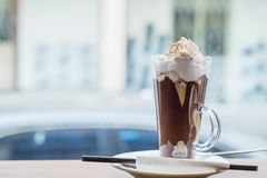 Coffee mocha on the wooden table Stock Photography