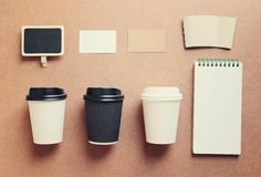 Coffee mock up for identity branding from top view Stock Image