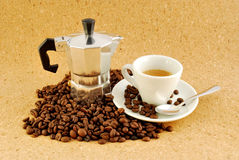 Coffee moka coffee made ​​at home, with cup Stock Images