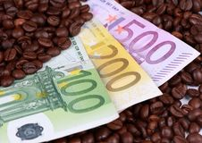 Coffee money. Coffee and the power of the money Royalty Free Stock Photo