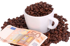 Coffee money. Coffee and the power of the money Royalty Free Stock Images
