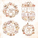 Coffee monograms brown Royalty Free Stock Image