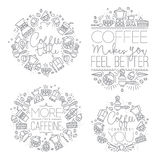 Coffee monograms grey Royalty Free Stock Photography
