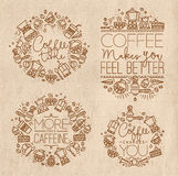 Coffee monograms kraft Stock Images