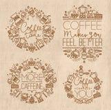 Coffee monograms kraft Stock Images