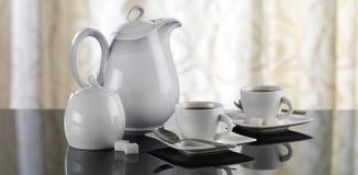 Coffee mood. Coffee set on reflective table Royalty Free Stock Photo