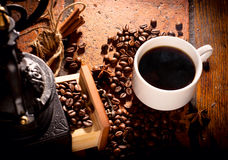 Coffee_mood_composition. Coffee mood composition with cup and coffee beans Stock Image
